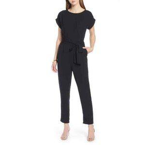 Halogen Short Sleeve Jumpsuit Tie Waist Jumpsuit
